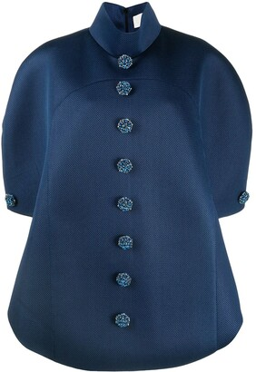 Loulou Crystal-Button Pull-Over Mesh Coat