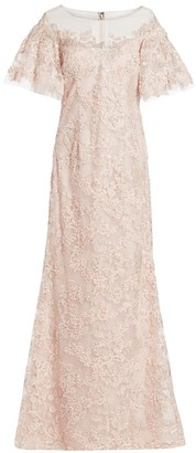 Teri Jon by Rickie Freeman Lace Flutter-Sleeve Gown