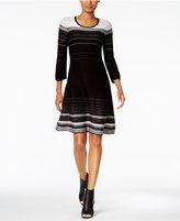 Nine West Striped A-Line Sweater Dress