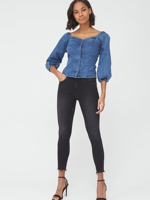 Very Covered Button Denim Top - Mid Wash