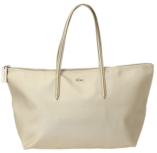 Lacoste L1212 Concept Large Metallic Tote (Rich Gold) - Bags and Luggage