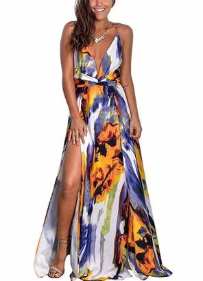 Beixinder Women Maxi Dress Sexy V Neck Sleeveless Floral Print Split Casual Loose Summer Beach Long Dresses (Red L)