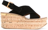 Chloé Camille wedge sandals - women - Cork/Leather/Suede - 35