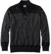 L.L. Bean Cotton/Cashmere Sweater, Quarter-Zip Stripe