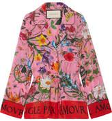 Gucci Printed Silk Crepe De Chine Shirt - Pink