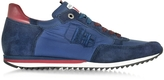 D'Acquasparta D'Acquasparta Magnifico Blue Nylon and Suede Men's Sneaker