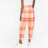 Paul Smith Women's Pink Large-Check Silk-Cupro Pleated Trousers