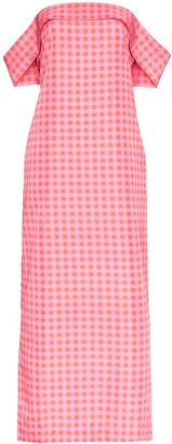 BERNADETTE Julia gingham off-the-shoulder gown