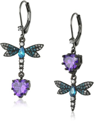 """Betsey Johnson Cubic Zirconia Critter"""" Cubic Zirconia and Butterfly Double Mismatch Drop Earring"""