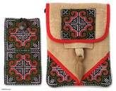 Unique Hill Tribe Hemp Bag and Cell Phone Pouch, 'Ultimate Red'