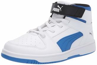 Puma Unisex-Kid's Rebound Layup Velcro Sneaker White-Palace Blue Black 11.5 M US Little Kid