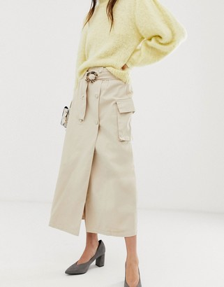 Asos Design DESIGN denim double breasted midi skirt with buckle in stone-Beige