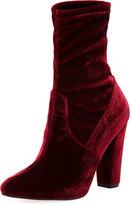 Neiman Marcus May Velvet Sock High Bootie, Burgundy