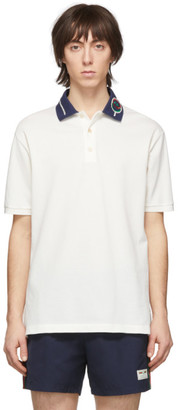 Gucci Off-White Embroidered Collar Polo