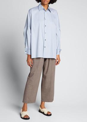 eskandar Striped Dropped-Shoulder Collared Shirt