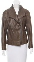 Vince Fold-Over Neckline Leather Jacket