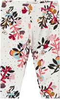 Catimini Cream Flower and Bird Print Leggings