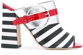 Pollini Deco Colour-Block & Stripes mules