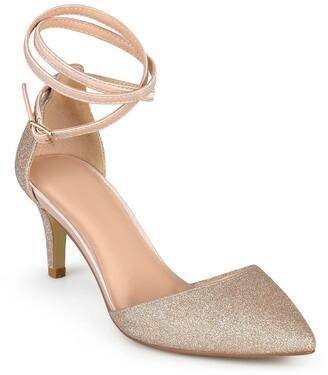 Journee Collection Luela Glitter Ankle Strap Pump