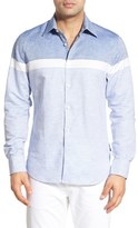 Stone Rose Trim Fit Colorblock Stripe Sport Shirt