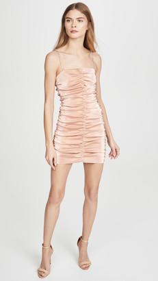 Area Stretch Lame Shirred Mini Dress