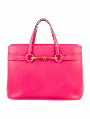 Gucci Medium Leather Bright Bit Tote Fuchsia