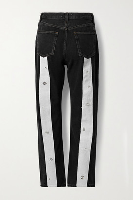 STILL HERE Loom Play Tate Cropped Canvas-trimmed High-rise Straight-leg Jeans - Black