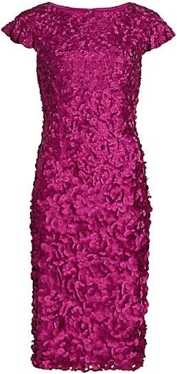 Theia Petal Ruffle-Sleeve Dress