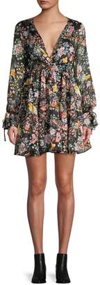 Free People Closer To The Heart V-Neck Mini Dress