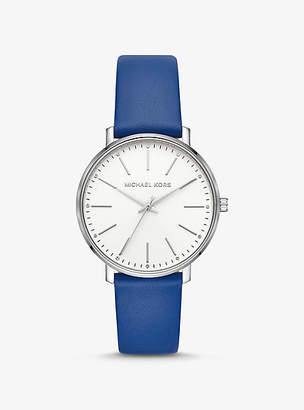 Michael Kors Pyper Silver-Tone And Leather Watch