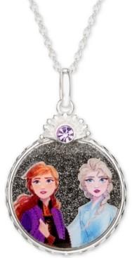 "Disney Children's Frozen Anna & Elsa Crystal Pendant Necklace in Sterling Silver, 16"" + 2"" Extender"