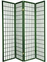 Oriental Furniture 6-Feet Window Pane Japanese Shoji Folding Privacy Screen Room Divider, Hunter