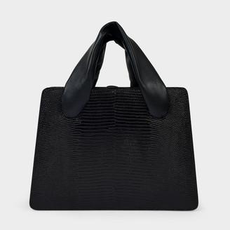Little Liffner Everyday Soft Handle Handbag In Black Lizard Embossed Leather
