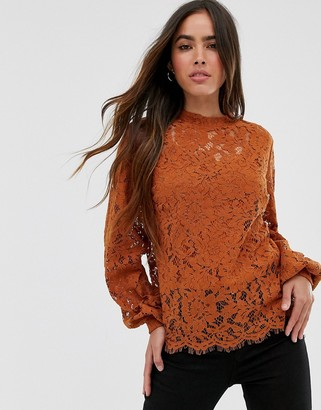 Vila high neck lace top