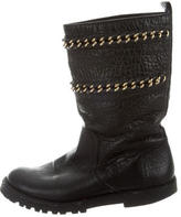 Tory Burch Leather Chain-Embellished Ankle Boots