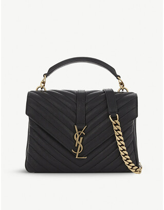 Saint Laurent Women's Black Gold Monogram College Quilted Leather Satchel, Size: Small