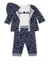 Offspring Baby Boy's Four-Piece Traffic Circles Hat, Bodysuit, Jacket & Pants Set