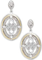 Macy's Diamond Drop Earrings in 14k Gold and Sterling Silver (1/8 ct. t.w.)
