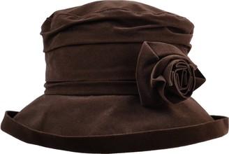 Proppa Toppa Waterproof Velour Packable Women's Rain Hat with Detachable Flower Dark Brown
