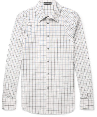 Alexander McQueen Slim-Fit Harness-Detailed Checked Brushed-Cotton Shirt