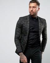 Asos Super Skinny Blazer in Camo Jersey