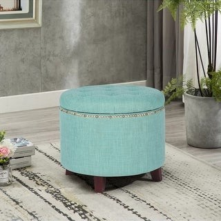 Adeco Fabric Round Button Tufted Lift Top Storage Ottoman Footstool