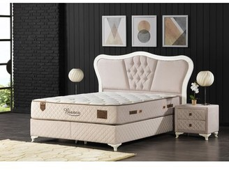 Leona Tufted Upholstered Low Profile Storage Platform Bed with Mattress Zhomez Size: Queen