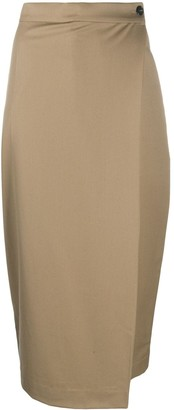 Low Classic Side Buttoned Wrap Skirt