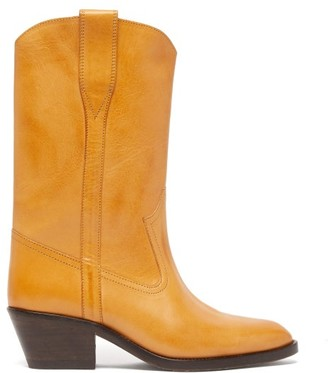 Isabel Marant Danta Leather Western Boots - Light Tan
