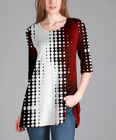 Lily Red & White Abstract Tunic - Plus Too