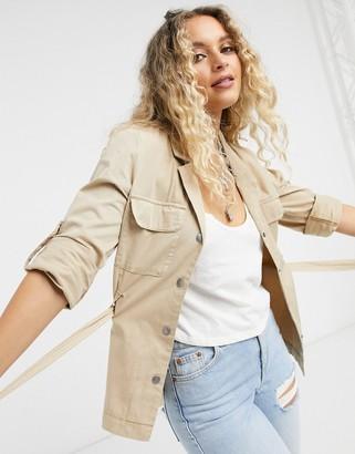 Vero Moda belted safari jacket in tan