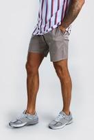 boohoo Mens Grey Elastic Waistband Slim Fit Mid Length Chino Short, Grey