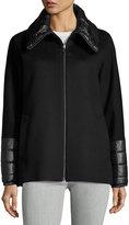 Cinzia Rocca Wool-Blend Coat w/ Puffer Trim, Black