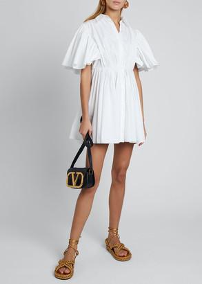 Valentino Short-Sleeve Pleated Cape Cotton Shirtdress